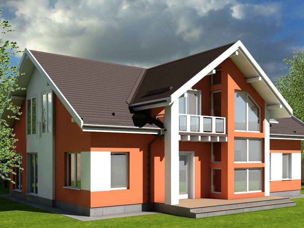 Проект дома из газобетона 14х14 с мансардой площадью 250 м2