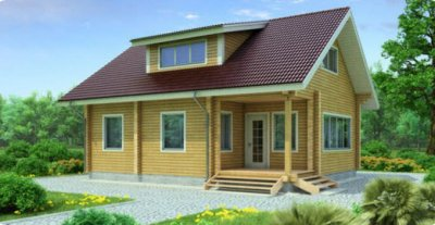 Проект дома из бруса 1-75