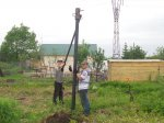 Монтаж фундамента из 4-х метровых винтовых свай
