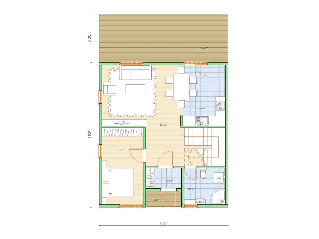 Проект каркасного дома по скандинавской технологии, площадью 118 м2 - планировка фото 1