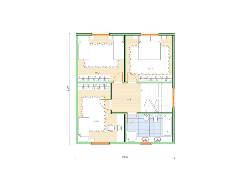 Проект каркасного дома по скандинавской технологии, площадью 118 м2 - планировка фото 2