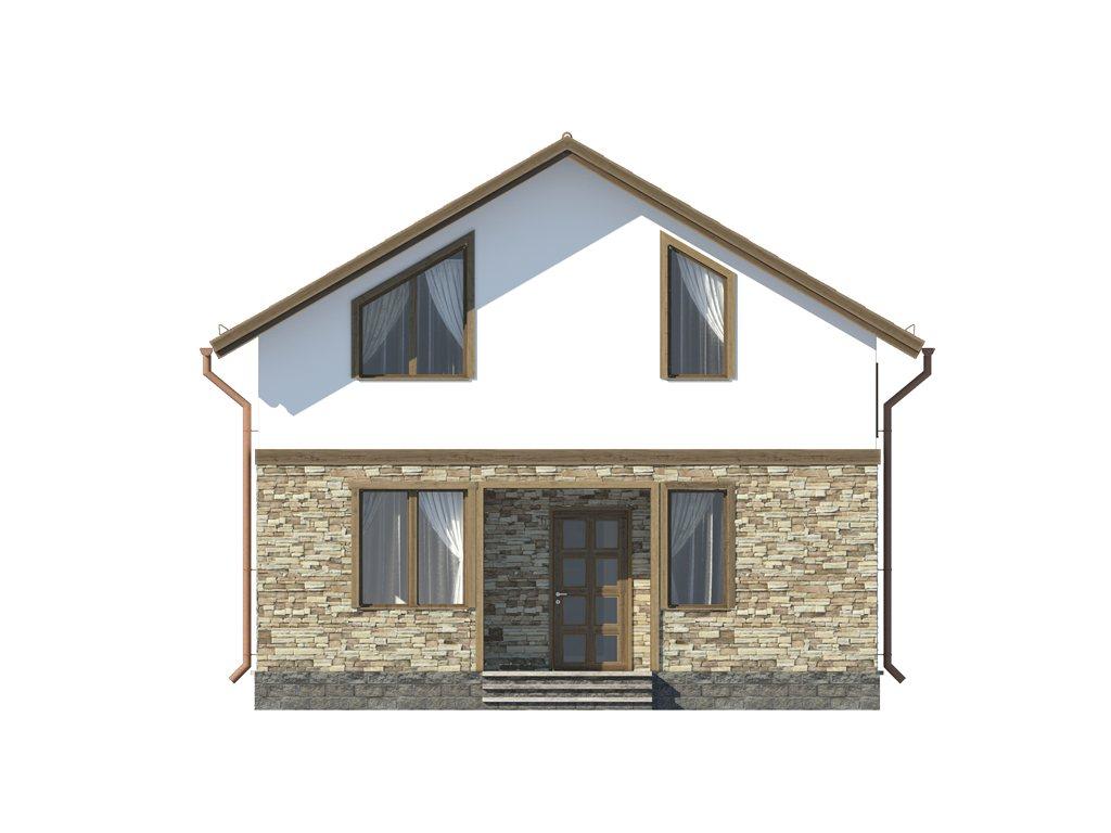 Проект каркасного дома по скандинавской технологии, площадью 118 м2 - фасад фото 1