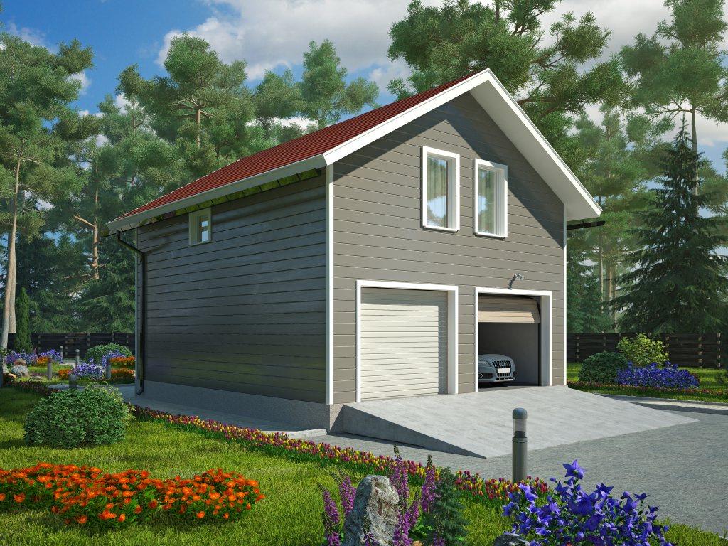 Проект двухэтажного гаража на 2 машины площадью 100 м2