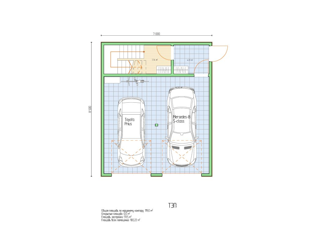 Проект двухэтажного гаража на 2 машины площадью 100 м2 - планировка фото 1