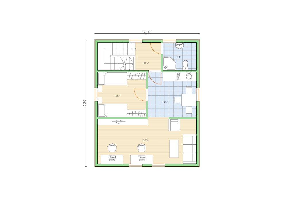 Проект двухэтажного гаража на 2 машины площадью 100 м2 - планировка фото 2