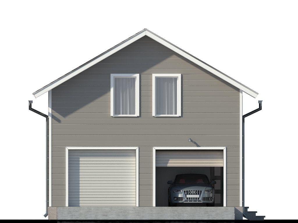 Проект двухэтажного гаража на 2 машины площадью 100 м2 - фасад фото 1