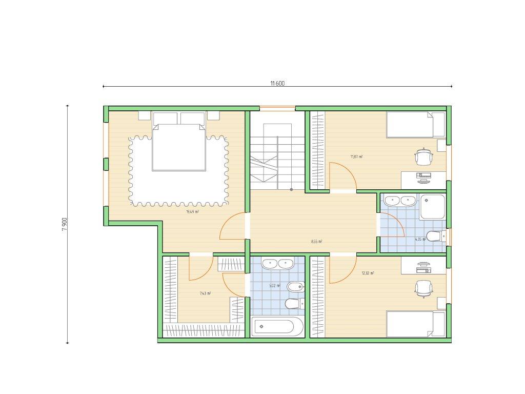 Проект дома для большой семьи площадью 183 м2 - планировка фото 2