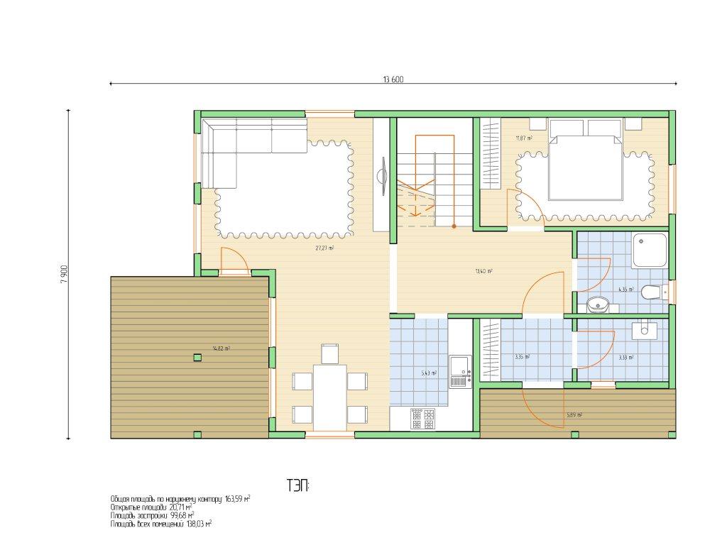 Проект дома для большой семьи площадью 183 м2 - планировка фото 1