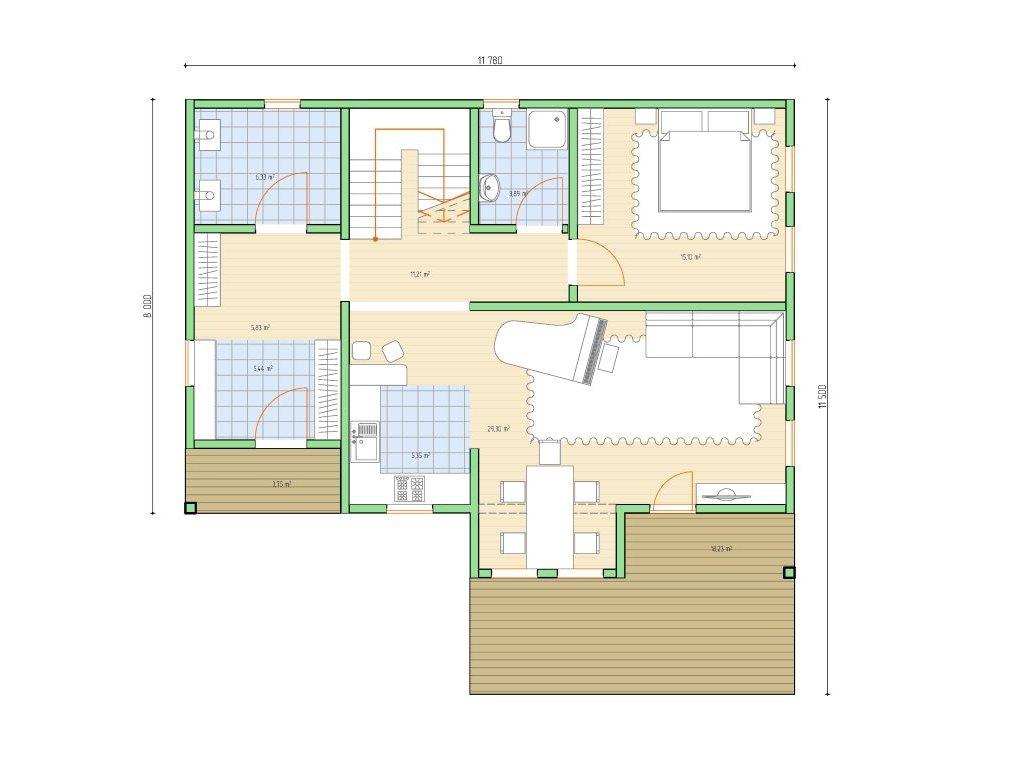 Проект дома в стиле шале площадью 160 кв.м - планировка фото 1