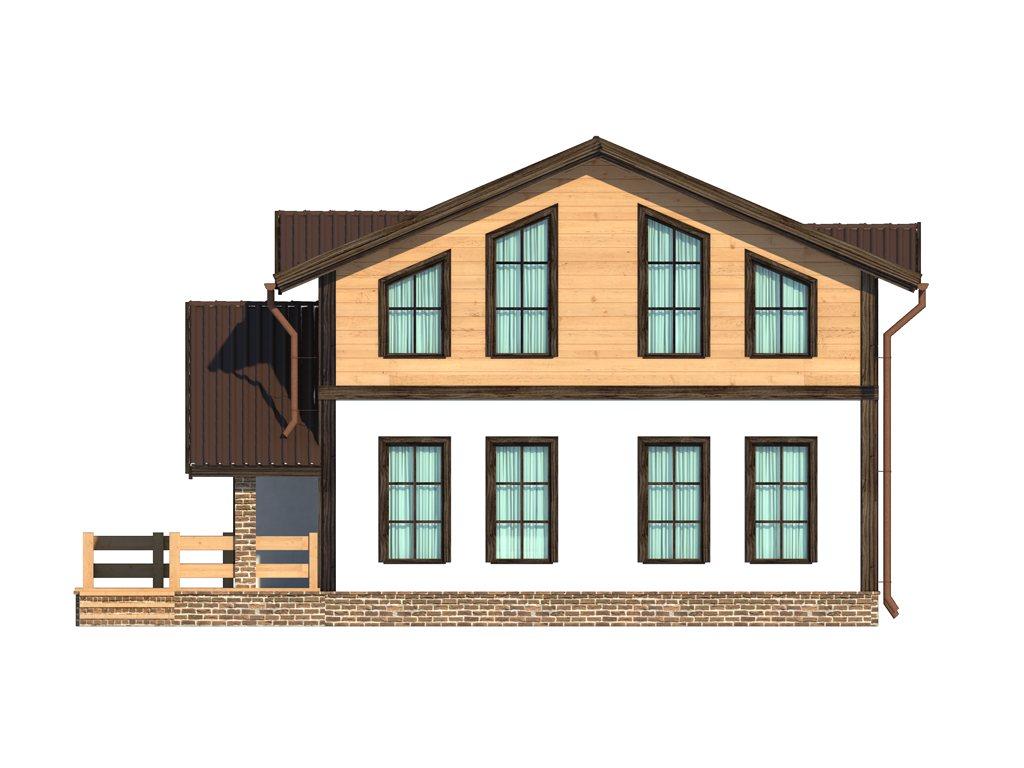Проект дома в стиле шале площадью 160 кв.м - фасад фото 2