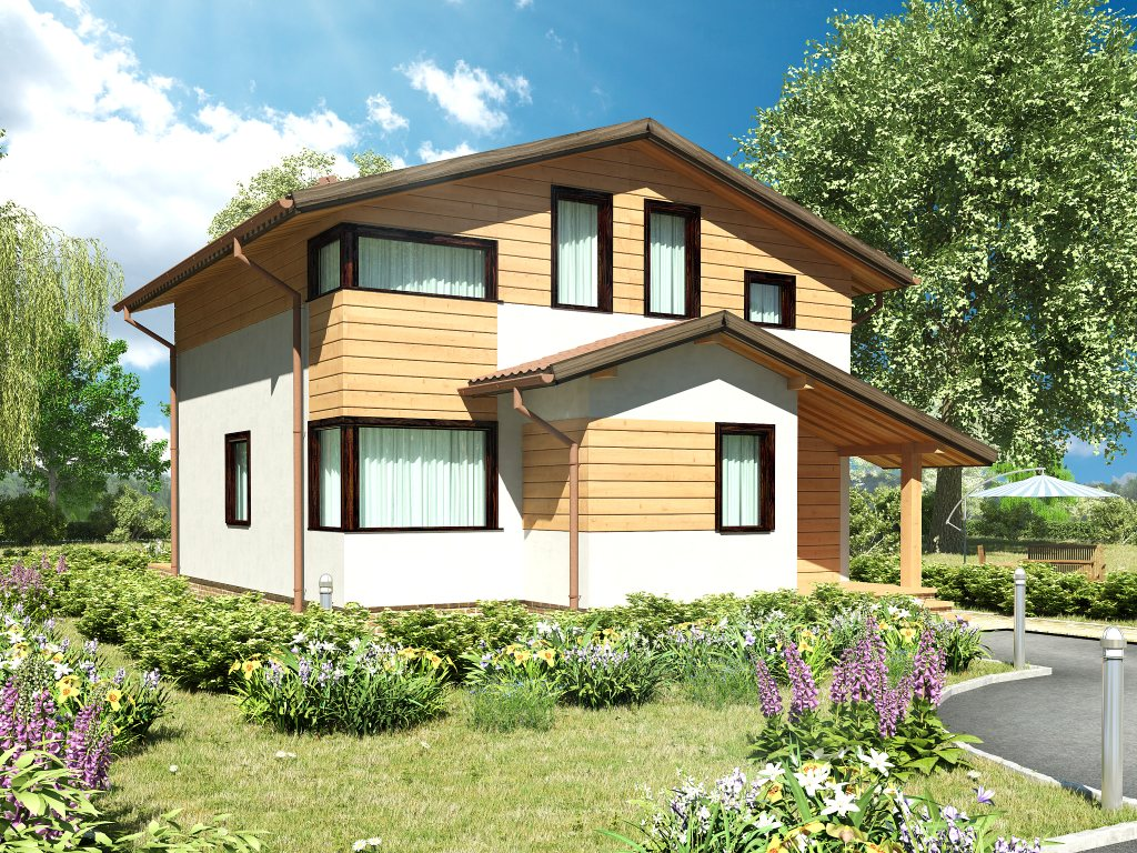 Проект каркасного дома 8х8 с мансардой площадью 112 м2