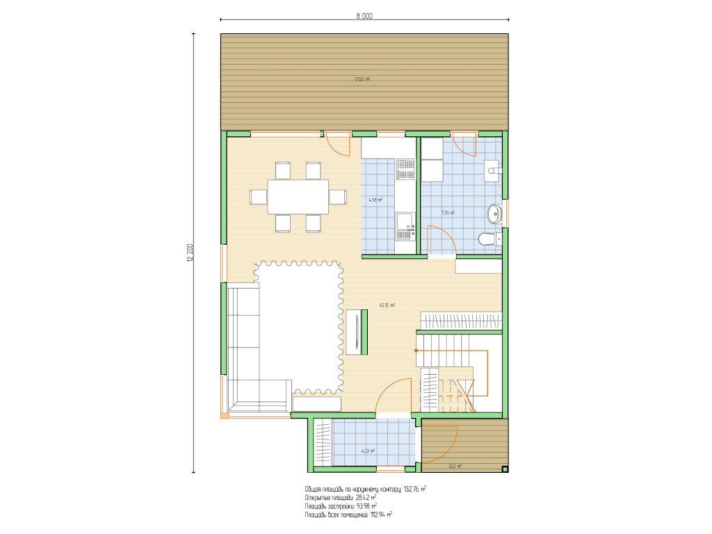 Проект каркасного дома 8х8 с мансардой площадью 112 м2 - планировка фото 1