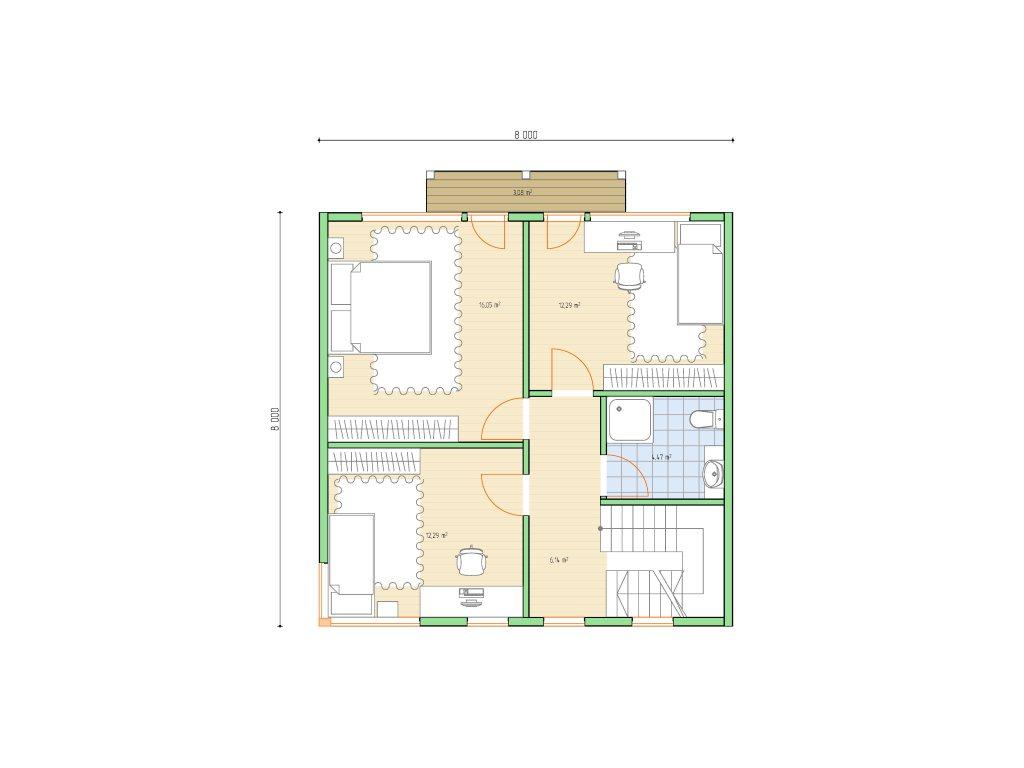 Проект каркасного дома 8х8 с мансардой площадью 112 м2 - планировка фото 2