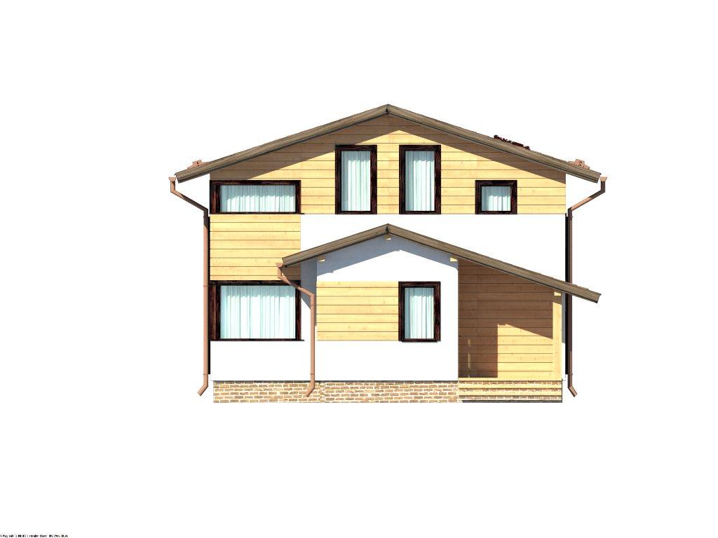 Проект каркасного дома 8х8 с мансардой площадью 112 м2 - фасад фото 1