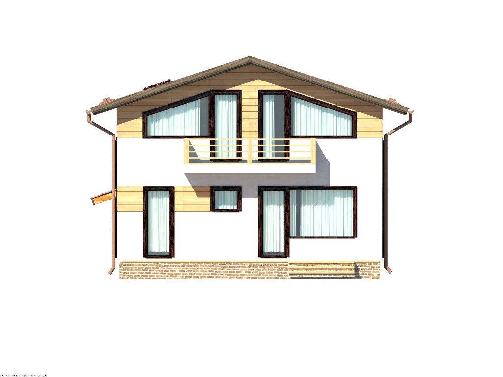 Проект каркасного дома 8х8 с мансардой площадью 112 м2 - фасад фото 3