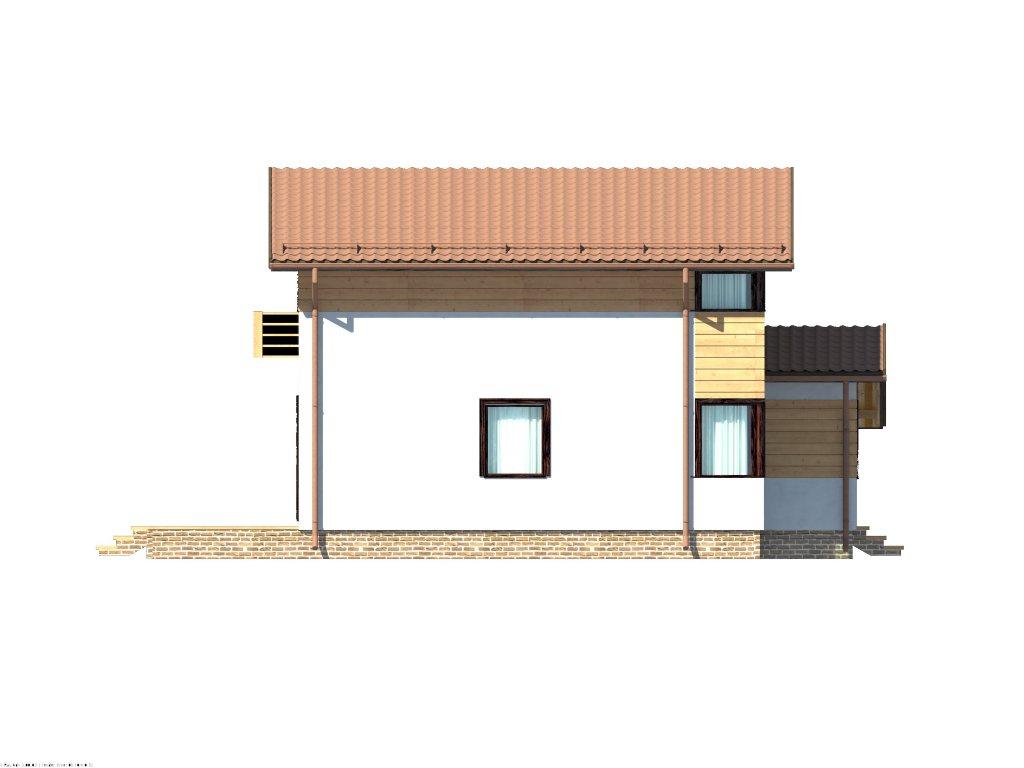 Проект каркасного дома 8х8 с мансардой площадью 112 м2 - фасад фото 4
