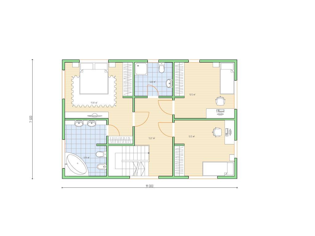 Проект двухэтажного каркасного дома площадью 139 м2 - планировка фото 2