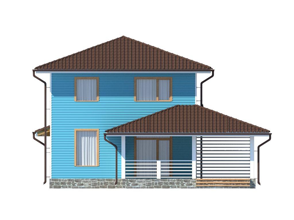 Проект двухэтажного каркасного дома площадью 139 м2 - фасад фото 1