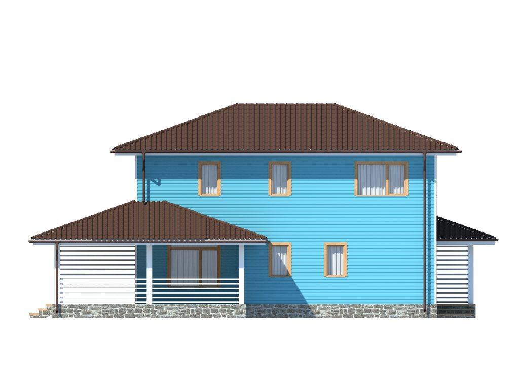 Проект двухэтажного каркасного дома площадью 139 м2 - фасад фото 2