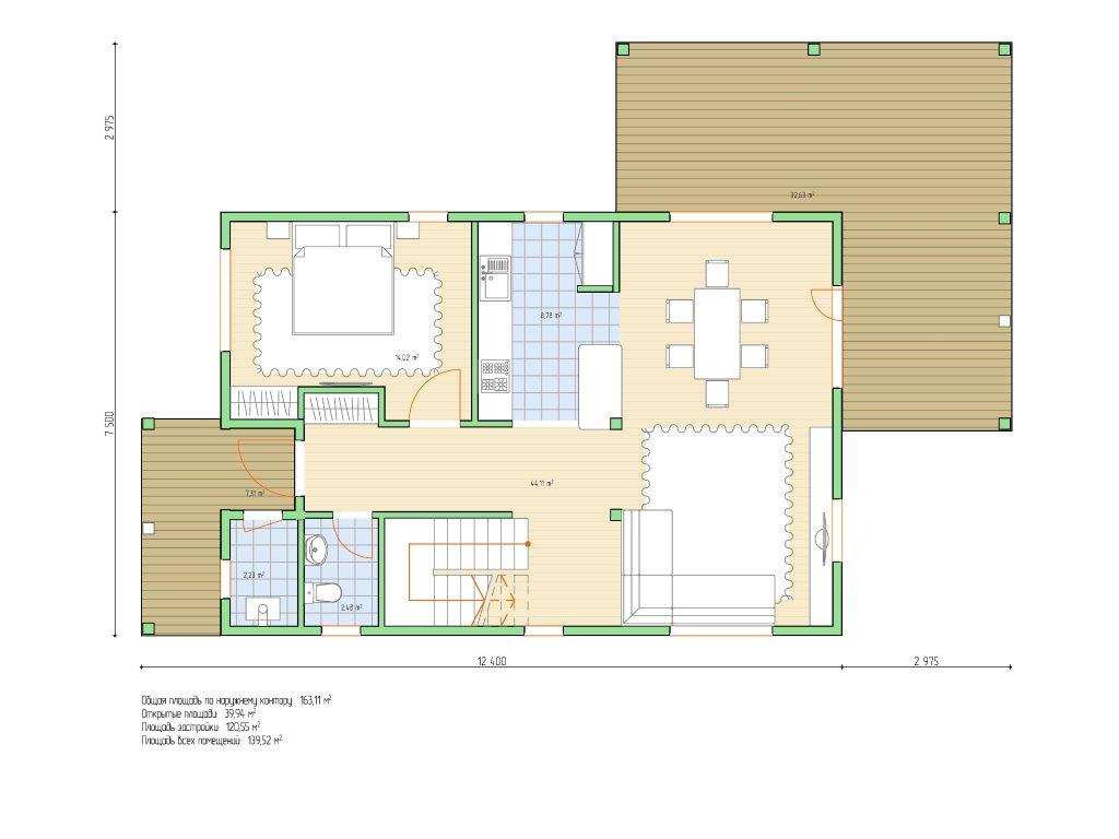 Проект двухэтажного каркасного дома площадью 139 м2 - планировка фото 1
