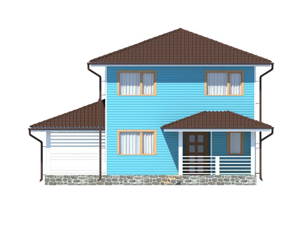 Проект двухэтажного каркасного дома площадью 139 м2 - фасад фото 3