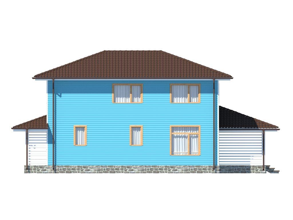 Проект двухэтажного каркасного дома площадью 139 м2 - фасад фото 4