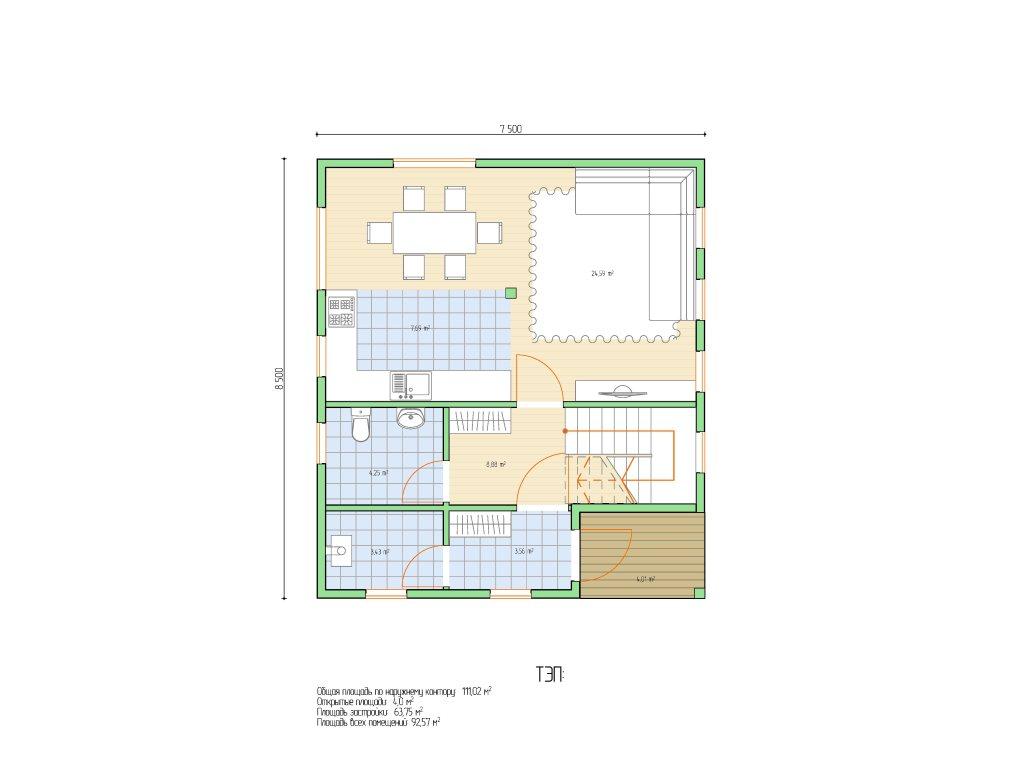 Проект небольшого уютного дома площадью 92 м2 - планировка фото 1