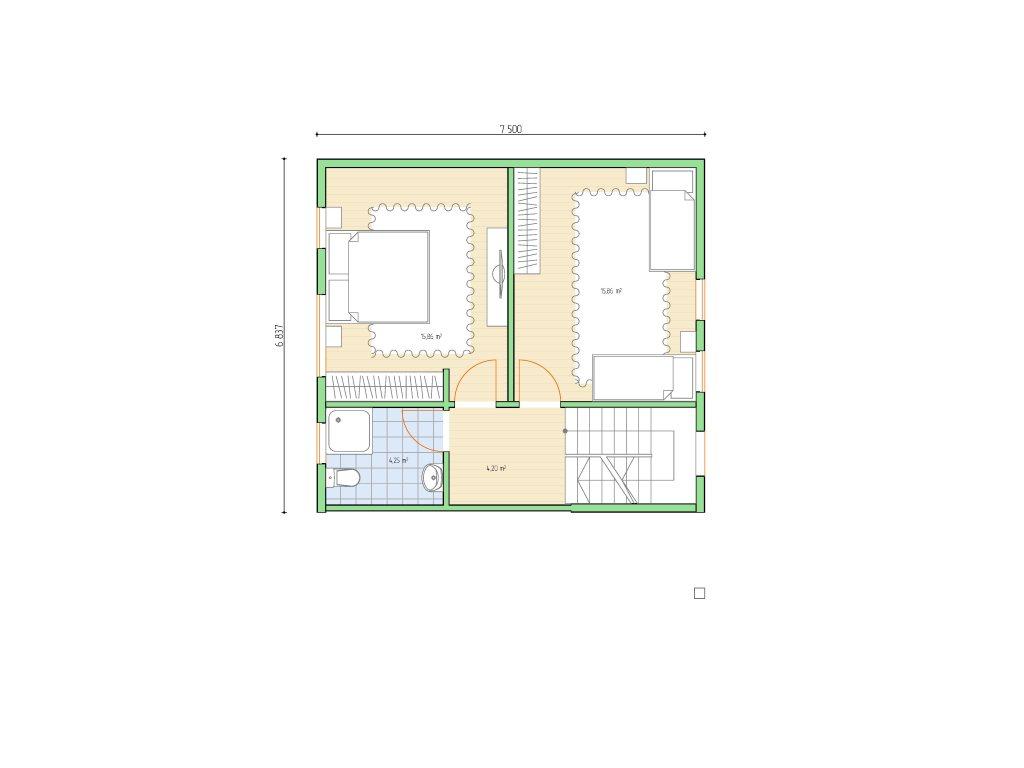 Проект небольшого уютного дома площадью 92 м2 - планировка фото 2