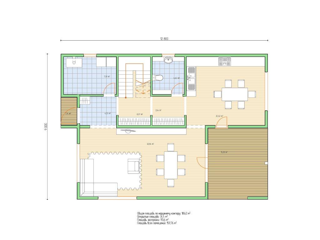 Проект дома в современном стиле площадью 186 м2 - планировка фото 1
