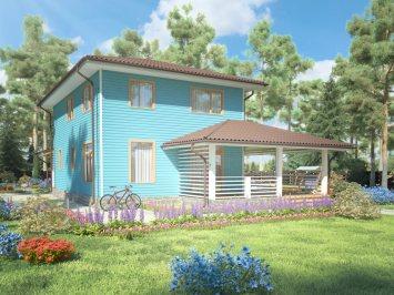 Проект двухэтажного каркасного дома площадью 139 м2
