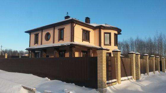 Строительство двухэтажного дома из арболитовых блоков в Питино