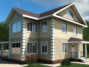 Проект двухэтажного дома из арболитовых блоков А-152