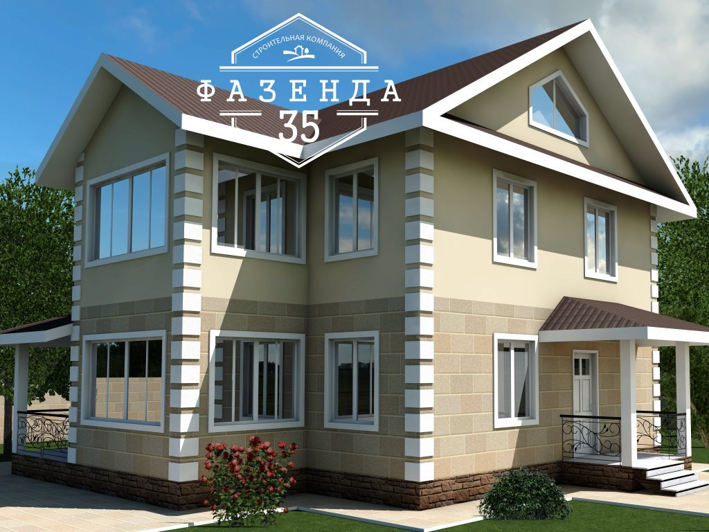 Проект двухэтажного дома из газоблока 10 на 9 площадью 152 м2