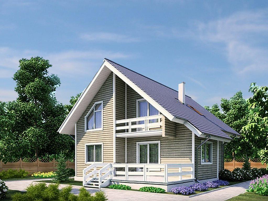 Проект каркасного дома 10x9 с мансардой и террасой