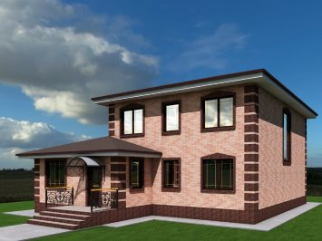 Проект двухэтажного дома из арболита А-168