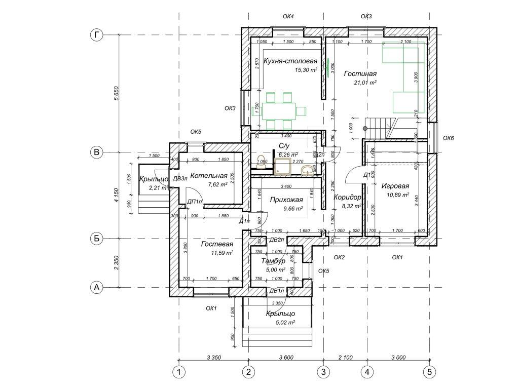 Проект дома из газобетона в 2 этажа 12х12 метров - планировка фото 1