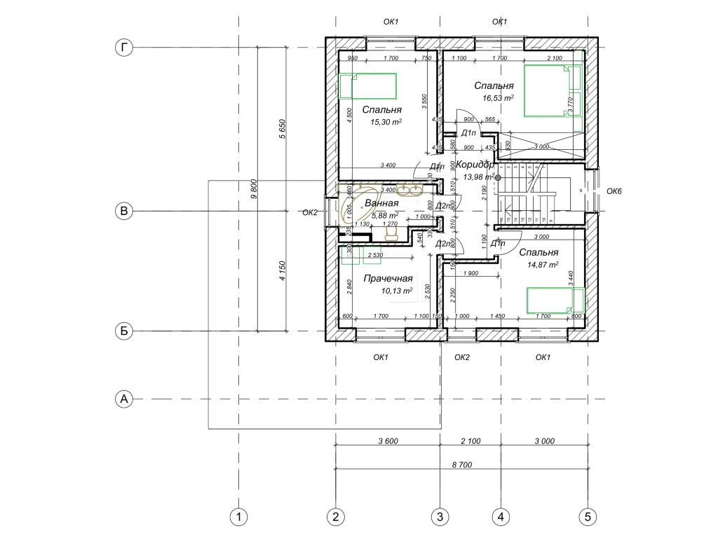 Проект дома из газобетона в 2 этажа 12х12 метров - планировка фото 2