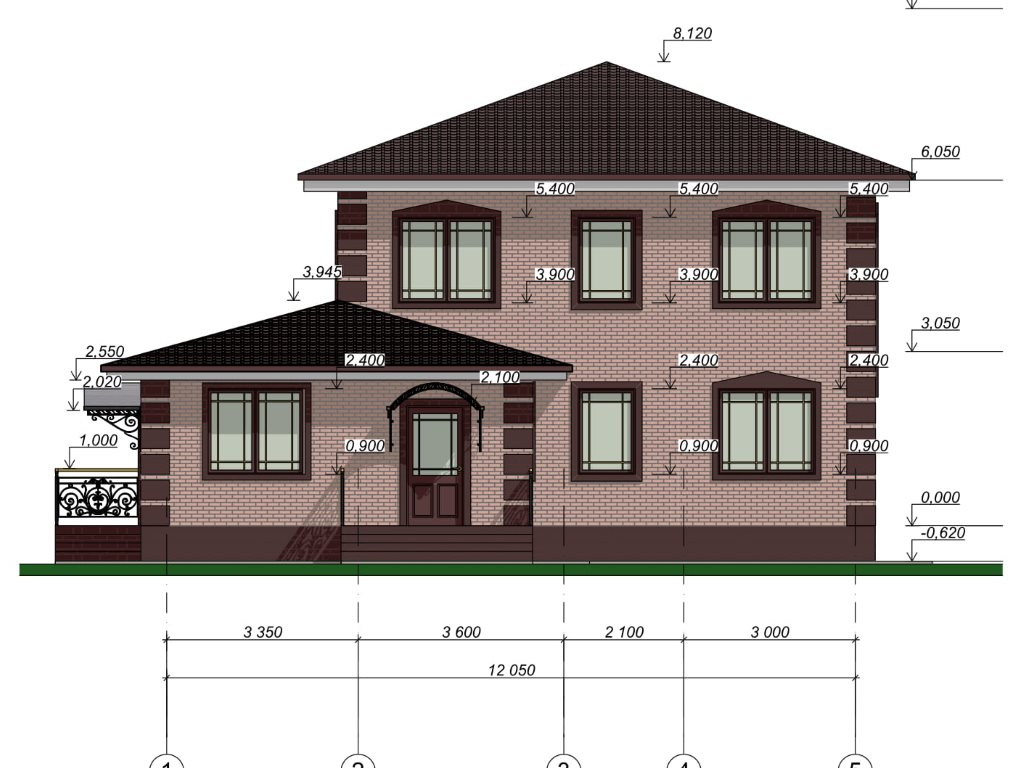 Проект дома из газобетона в 2 этажа 12х12 метров - фасад фото 4