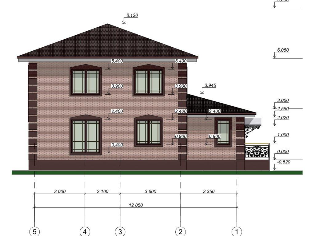 Проект дома из газобетона в 2 этажа 12х12 метров - фасад фото 3
