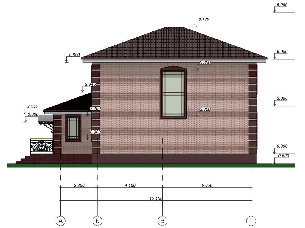 Проект дома из газобетона в 2 этажа 12х12 метров - фасад фото 2
