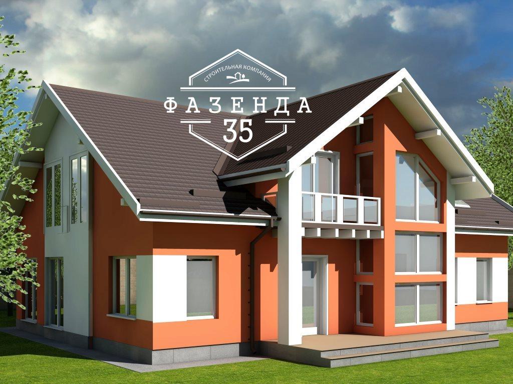 Проект двухэтажного дома из газобетона 14х14 метров