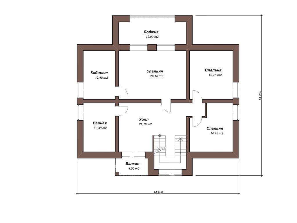 Проект двухэтажного дома из газобетона 14х14 метров - планировка фото 2
