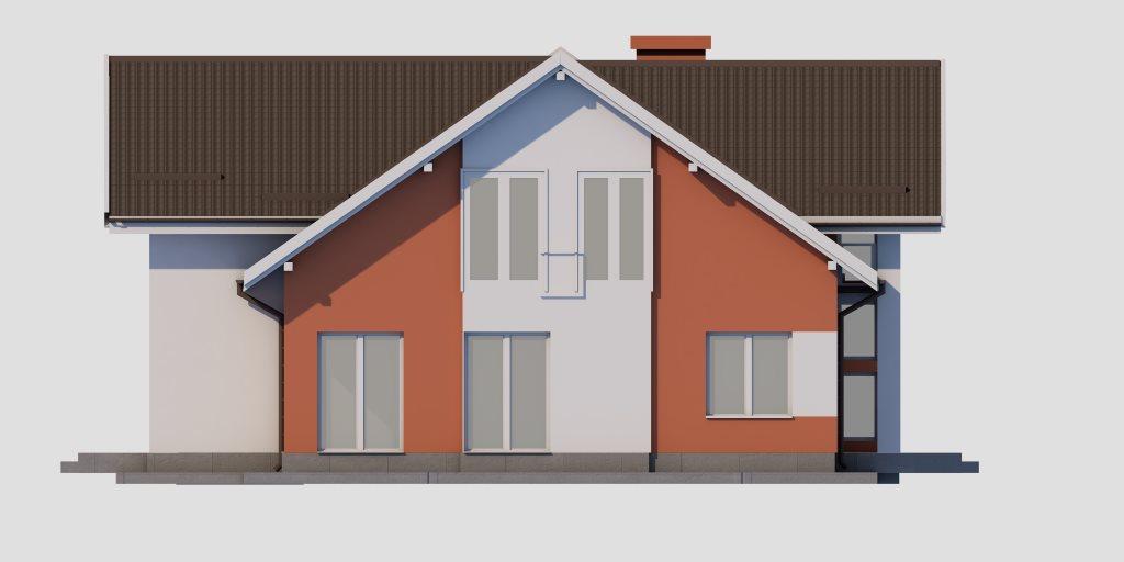 Проект двухэтажного дома из газобетона 14х14 метров - фасад фото 3