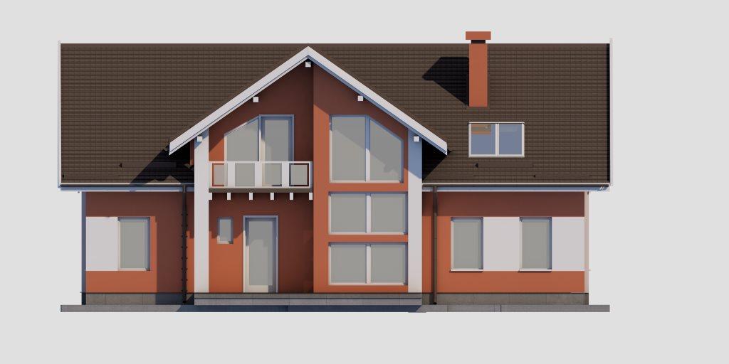 Проект двухэтажного дома из газобетона 14х14 метров - фасад фото 4