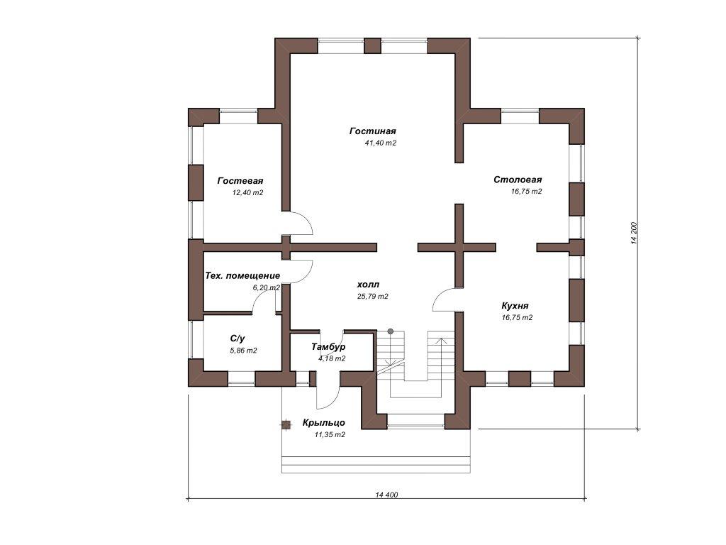 Проект двухэтажного дома из газобетона 14х14 метров - планировка фото 1
