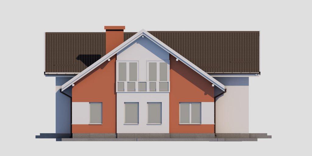 Проект двухэтажного дома из газобетона 14х14 метров - фасад фото 1