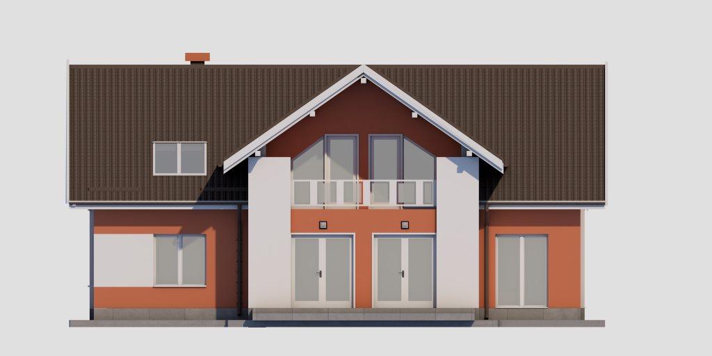 Проект двухэтажного дома из газобетона 14х14 метров - фасад фото 2
