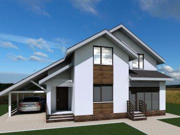 Проект мансардного дома из арболита А-135