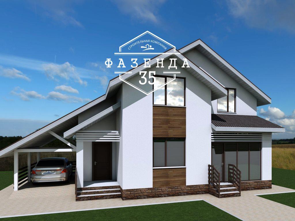 Проект дома из газобетона 12х9 с мансардой
