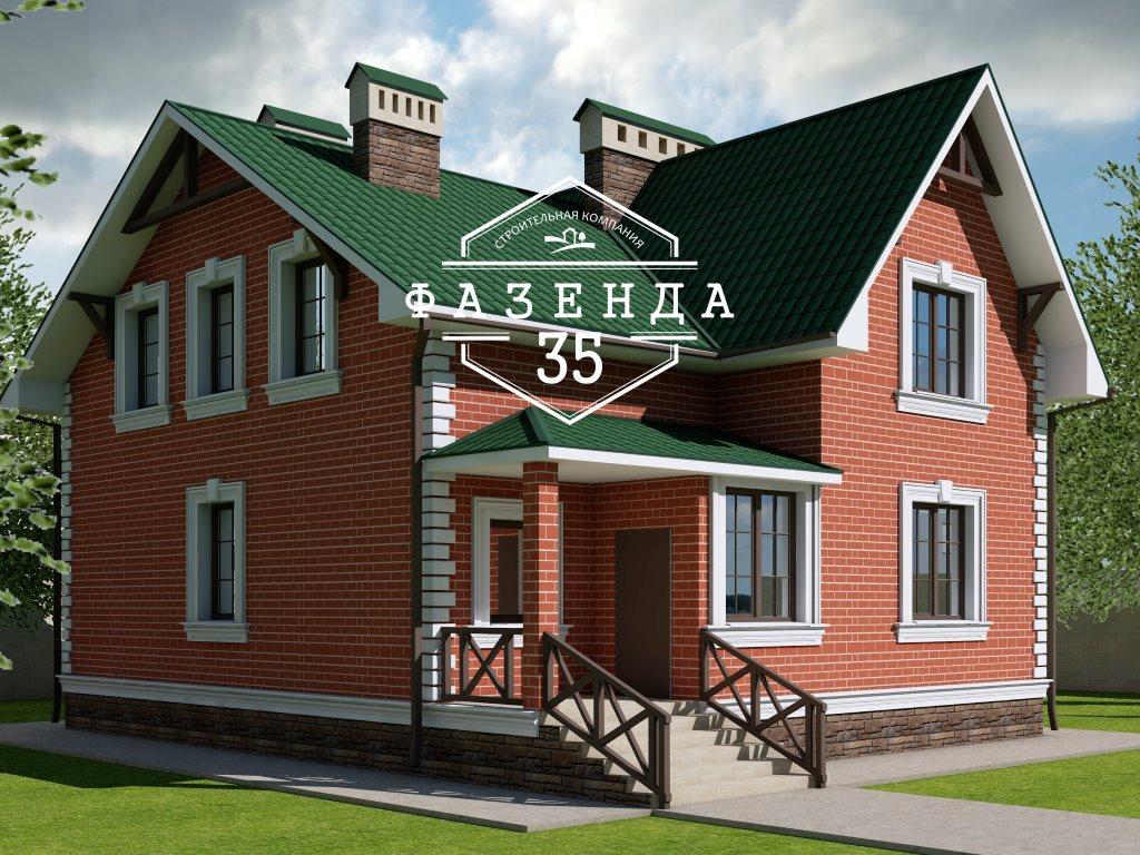 Проект дома из газобетона 10х10 с мансардой 129 кв. м